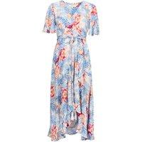 M&S Per Una Womens Crepe Floral V-Neck Midi Wrap Dress - 8 - Ivory Mix, Ivory Mix