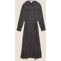 M&S Per Una Womens Leaf Print Collared Midaxi Shirt Dress - 8 - Black Mix, Black Mix