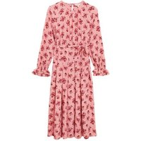 M&S Per Una Womens Floral Tie Front Midi Relaxed Dress - 8 - Pink Mix, Pink Mix