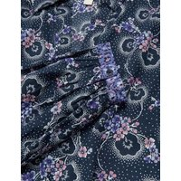 M&S Per Una Womens Pure Cotton Floral Midaxi Shirt Dress - 6 - Navy Mix, Navy Mix