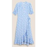 MandS Per Una Womens Ditsy Floral V-Neck Midi Wrap Dress - 8 - Blue Mix, Blue Mix