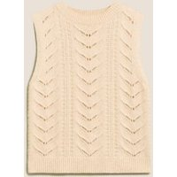 M&S Per Una Womens Cotton with Wool Textured Knitted Vest - Cream, Cream