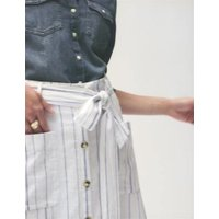 MandS Per Una Womens Linen Striped Midi A-Line Skirt - 6 - White Mix, White Mix