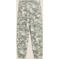 M&S Womens Cargo Utility Camo Tapered Trousers - 8LNG - Green Mix, Green Mix