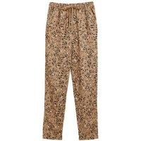 M&S Womens Linen Animal Print Tapered Trousers - 6SHT - Flax Mix, Flax Mix