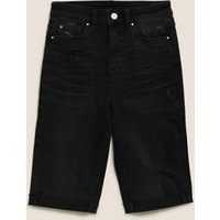 M&S Womens Denim Knee Length Shorts - 6 - Black, Black,Medium Indigo,Light Indigo