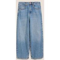 M&S Womens High Waisted Barrel Cropped Jeans - 10LNG - Light Indigo, Light Indigo,Indigo