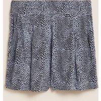 M&S Womens Printed High Waisted Shorts - 6 - Cornflower, Cornflower,Black Mix