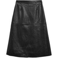 MandS Womens Faux Leather Croc Midi A-Line Skirt - 8REG - Black, Black