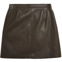 MandS Womens Faux Leather Mini A-Line Skirt - 8REG - Chocolate, Chocolate,Black