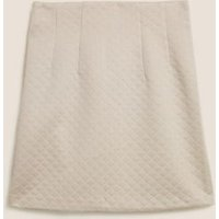 M&S Womens Jersey Diamond Quilted Mini A-Line Skirt - 6REG - Grey, Grey