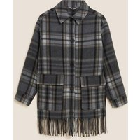 M&S Womens Checked Fringed Shacket with Wool - XS - Grey Mix, Grey Mix