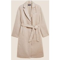 MandS Womens Belted Single Breasted Coat with Wool - 6 - Oatmeal Mix, Oatmeal Mix,Green