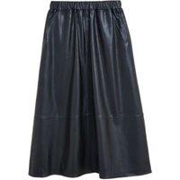 MandS Womens Faux Leather Midi A-Line Circle Skirt - 6REG - Black, Black