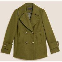 MandS Womens Double Breasted Pea Coat with Wool - 6 - Dark Khaki, Dark Khaki,Navy