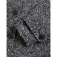 MandS Womens Wool Tweed Belted Longline Car Coat - 6 - Black Mix, Black Mix