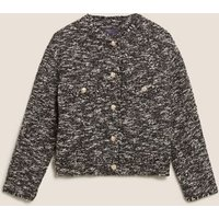 MandS Womens Tweed Relaxed Jacket - 8 - Black Mix, Black Mix