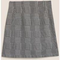 M&S Womens Jersey Checked Mini A-Line Skirt - 8REG - Grey, Grey