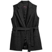 MandS Womens Linen Straight Sleeveless Belted Blazer - 10 - Black, Black,Light Caramel