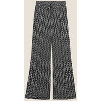 M&S Womens Polka Dot Drawstring Wide Leg Trousers - 10SHT - Black Mix, Black Mix