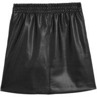 MandS Womens Faux Leather Mini A-Line Skirt - 6REG - Black, Black