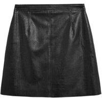 MandS Womens Faux Leather Croc Mini Skirt - 8REG - Black, Black