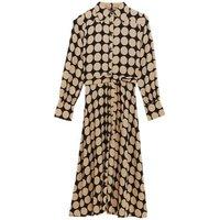 M&S Womens Spot Print Belted Midi Shirt Dress - 6LNG - Beige Mix, Beige Mix