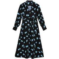 M&S Womens Floral Button Midi Skater Dress - 8LNG - Black Mix, Black Mix