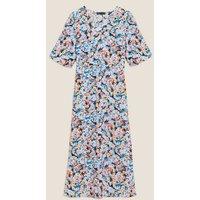 M&S Womens Floral V-Neck Puff Sleeve Midi Tea Dress - 6REG - Multi, Multi