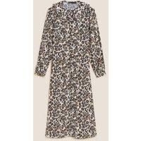 M&S Womens Animal Print Collared Midi Shirt Dress - 6REG - Natural Mix, Natural Mix