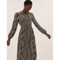 M&S Womens Animal Print Midi Shirt Dress - 8LNG - Brown Mix, Brown Mix