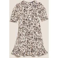 M&S Womens Animal Print Frill Detail Mini Tea Dress - 6REG - Neutral, Neutral