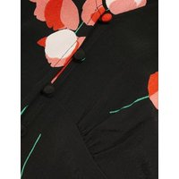 M&S X Ghost Womens Floral V-Neck Button Through Midi Tea Dress - 10REG - Black Mix, Black Mix