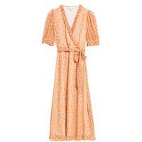MandS X Ghost Womens Floral V-Neck Ruffle Midi Wrap Dress - 8REG - Orange Mix, Orange Mix