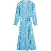 M&S X Ghost Womens Polka Dot Midi Wrap Dress - 10REG - Blue Mix, Blue Mix