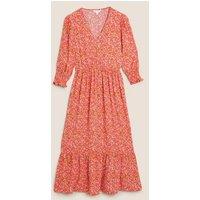 M&S X Ghost Womens Floral V-Neck Puff Sleeve Midi Tea Dress - 10REG - Orange Mix, Orange Mix