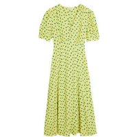 M&S X Ghost Womens Printed V-Neck Puff Sleeve Midi Tea Dress - 6REG - Yellow Mix, Yellow Mix