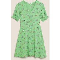 M&S X Ghost Womens Floral V-Neck Mini Tea Dress - 18REG - Green Mix, Green Mix