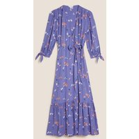 M&S X Ghost Womens Floral Tie Sleeve Midi Wrap Dress - 10REG - Lilac Mix, Lilac Mix