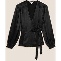 M&S X Ghost Womens Satin Long Sleeve Wrap Top - 8 - Black, Black