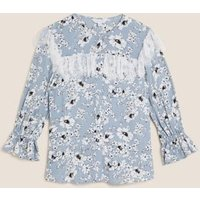 MandS X Ghost Womens Sheer Floral Lace Detail 3/4 Sleeve Blouse - 8 - Grey Mix, Grey Mix