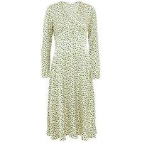M&S Finery London Womens Satin Geometric V-Neck Midi Tea Dress - 8 - Cream Mix, Cream Mix