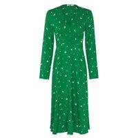 M&S Finery London Womens Printed V-Neck Midi Tea Dress - 8 - Green Mix, Green Mix