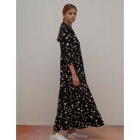 M&S Nobody'S Child Womens Star Print V-Neck Maxi Smock Dress - 6 - Black, Black
