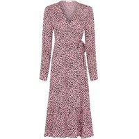 M&S Finery London Womens Animal Print V-Neck Midi Wrap Dress - 10 - Pink Mix, Pink Mix