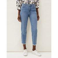 M&S Phase Eight Womens Raw Hem Straight Leg Cropped Jeans - 8 - Med Blue Denim, Med Blue Denim