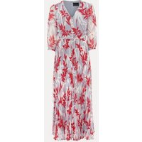 MandS Phase Eight Womens Printed Pleated V-Neck Maxi Tea Dress - 8 - Blue Mix, Blue Mix