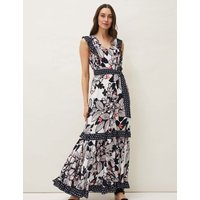 M&S Phase Eight Womens Floral V-Neck Sleeveless Maxi Tiered Dress - 18 - Navy Mix, Navy Mix