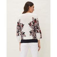 M&S Phase Eight Womens Linen Floral V-Neck Jumper - White Mix, White Mix