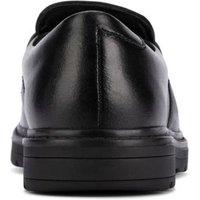 M&S Clarks Unisex Boys Girls Kids' Leather Slip-On School Shoes (Youth size 3-8) - 3F - Black, Black